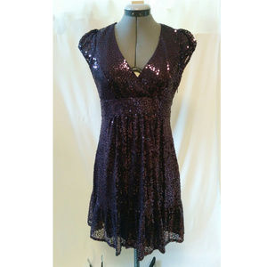 Betsey Johnson Plum Sequin Babydoll Cocktail Dress
